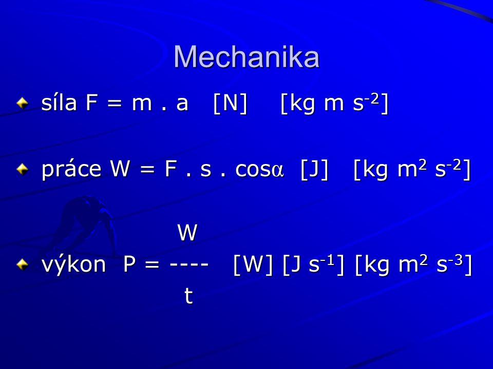 Mechanika síla F = m . a [N] [kg m s-2]